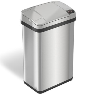 ITouchless Multifunction 4 Gallon Silver Stainless Steel Automatic Sensor Trash  Can