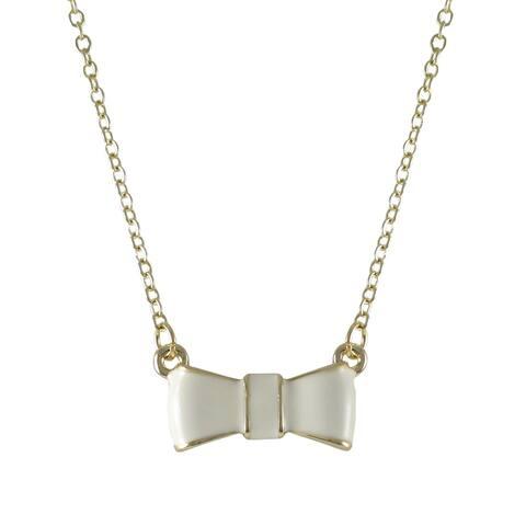 Luxiro Gold Finish Enamel Bow Girls Necklace