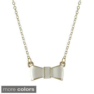 Luxiro Gold Finish Enamel Bow Girls Necklace