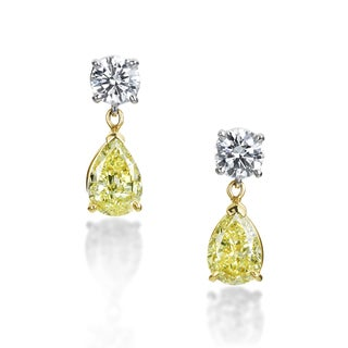 SummerRose Platinum and 18k Gold 3 3/8ct TDW Natural Yellow and White Diamond Drop Earrings (F-G, VS1-VS2)