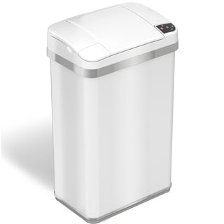 iTouchless 4 Gallon Multifunction Sensor Trash Can Matte Finish Pearl White