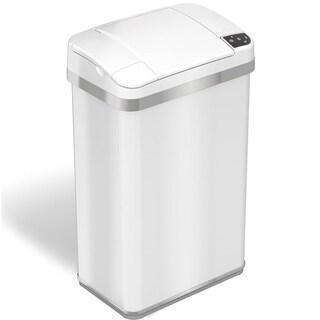 iTouchless 4 Gallon Multifunction Sensor Trash Can Matte Finish Pearl White