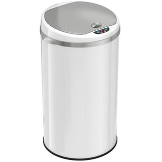 iTouchless Deodorizer 8 Gallon Round Sensor Trash Can Matte Finish Pearl White