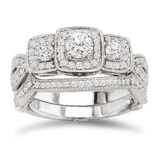 Avanti 14k White Gold 7/8ct TDW Diamond Vintage Bridal Ring Set (G-H, SI1-SI2)