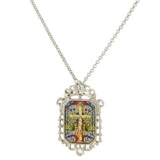 The Vatican Library Collection 1928 Jewelry Silvertone Crucifix Mosaic/ Filigree Pendant