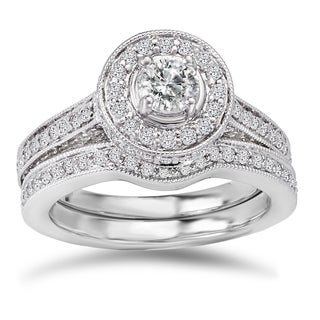 Avanti 14k White Gold 1 1/2ct TDW Diamond Round Halo Bridal Ring Set (G-H, SI1-SI2)