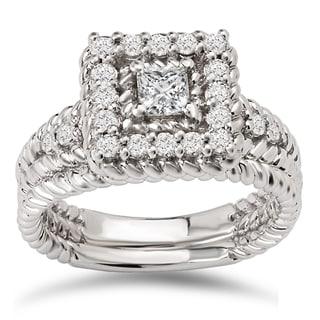 Avanti 14k White Gold 3/4ct TDW Diamond Princess Halo Rope Detail Bridal Ring Set (G-H, SI1-SI2)