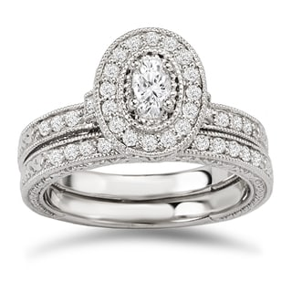 Avanti 14k White Gold 5/8ct TDW Diamond Oval Halo Vintage Bridal Ring Set (G-H, SI1-SI2)
