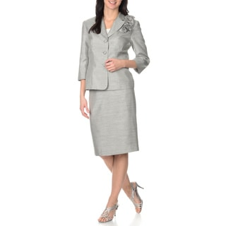 Danillo Women's Silver Shantung 2-piece Jacket and Skirt Set