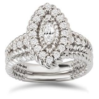 Avanti 14k White Gold 3/4ct TDW Diamond Marquise Halo Bridal Ring Set (G-H, SI1-SI2)