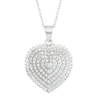 Gioelli Sterling Cubic Zirconia Tiered Heart Pendant