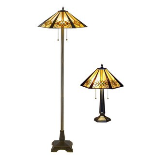 Tiffany Style Hex Mission Table and Floor Lamp Set