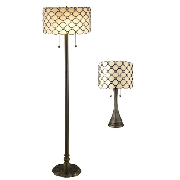 Shop tiffany style creamy white jeweled table and floor lamp set tiffany style creamy white jeweled table and floor lamp set aloadofball Images