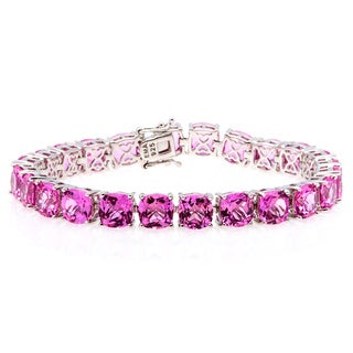 Sterling Silver Bracelet with Created Pink Sapphire