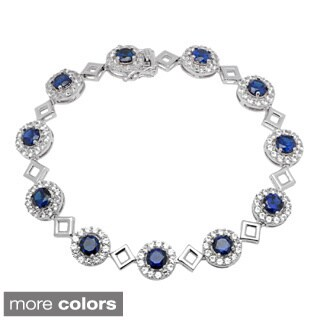 Sterling Silver Bracelet with Created Blue and White Sapphires