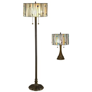 Serena d'italia Yellow and Blue Stained Glass and Bronze Metal Contemporary Tiffany-style Table and Floor Lamp Set