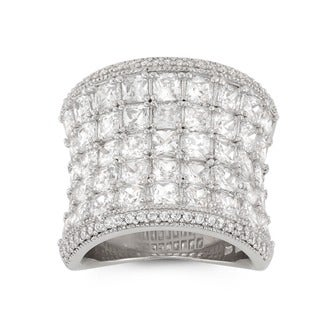 Sterling Silver Princess-cut Cubic Zirconia Wide Concave Ring