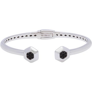 Sterling Silver Black Spinel Hexagon Cuff