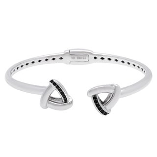 Sterling Silver Black Spinel Open Bangle