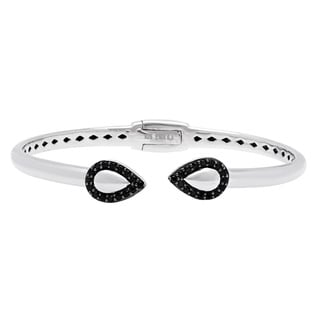 Sterling Silver Black Spinel Gemstone Bangle