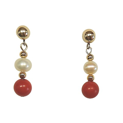 Goldfill Red Coral and Freshwater Pearl Earrings (6mm)