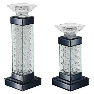 Casa Cortes Glass and Crystal Pillar Candle Holder (Set of 2)