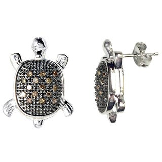 Sterling Silver 1/6ct TDW Brown Diamond Turtle Earrings (I2-I3)