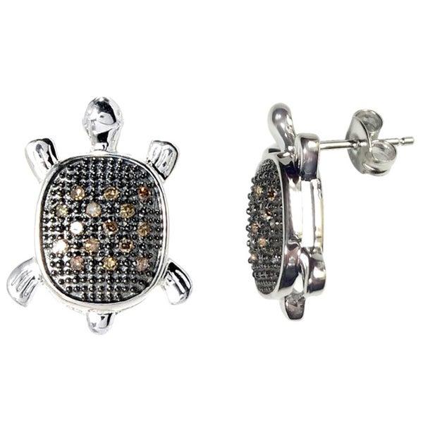 Sterling Silver 1 6ct Tdw Brown Diamond Turtle Earrings