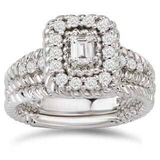 Avanti 14k White Gold 5/8ct TDW Diamond Emerald-cut Halo Bridal Ring Set