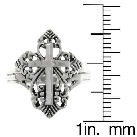 Sterling Silver Ornamental Cross Ring