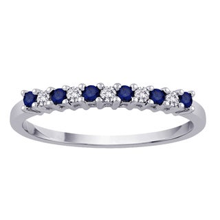 10k White Gold 1/8ct TDW Sapphire and White Diamond Anniversay Band (G-H, I2-I3)