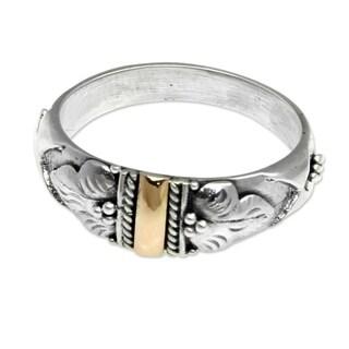 Handmade Gold Overlay 'Frangipani Aura' Ring (Indonesia)