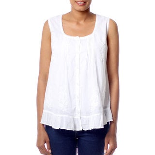 Handcrafted Cotton 'Morning Cloud' Blouse (India)
