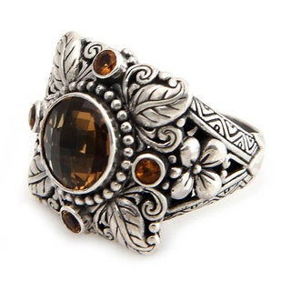 Sun Splendor Ornate Design Featuring Round Cut Citrines 3.3 TCW Set in 925 Sterling Silver Womens Cocktail Ring (Indonesia)