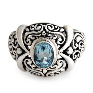 Sterling Silver 'Heavenly Garden' Blue Topaz Ring (Indonesia)