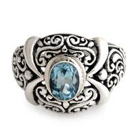 Handmade Sterling Silver 'Heavenly Garden' Blue Topaz Ring (Indonesia)