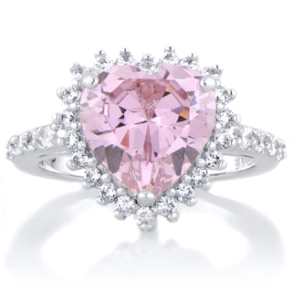 Sterling Silver Pink Heart Shaped Cubic Zirconia Engagement Ring