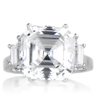 Sterling Silver Asscher Cut Three Stone Cubic Zirconia Engagement Ring