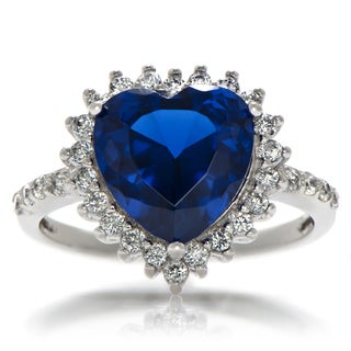 Rhodium plated Brass Blue Heart Cubic Zirconia Ring