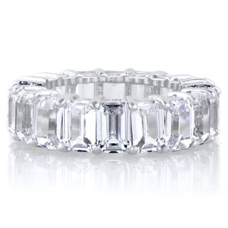 Sterling Silver Emerald Step Cut Cubic Zirconia Eternity Ring