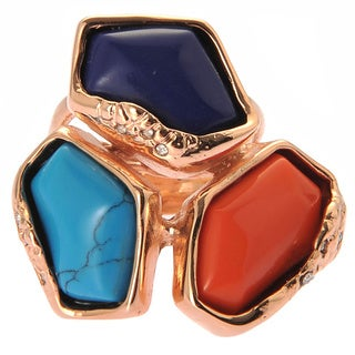 De Buman 18k Rose Gold Plated Red Coral, Turquoise and Lapis Ring