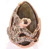 De Buman 18k Yellow Gold Plated or 18k Rose Gold Plated Labradorite and Crystal Ring