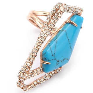 De Buman 18k Rose Gold Plated Irregular Pentagon Turquoise and Crystal Ring