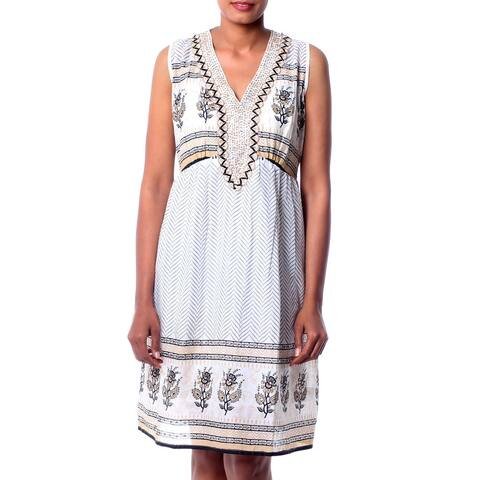 Handmade Beaded Cotton 'Golden Magic' Dress (India)