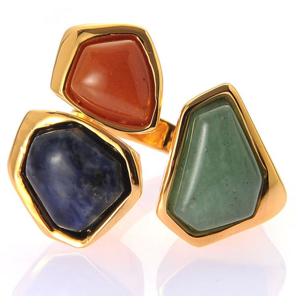 De Buman Yellow Gold Plated Aventurine And Red Jadite Gemstone Ring