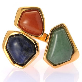 De Buman 18k Yellow Gold Plated Aventurine and Red Jadite Gemstone Ring