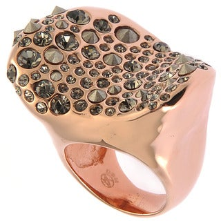 De Buman Rose Gold Plated Transparent Black Czech And Crystal Irregular Ring