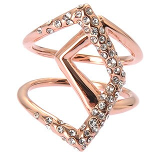 De Buman Rose Gold Plated And White Czech Crystal Ring