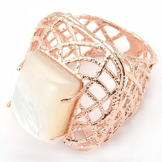 De Buman 18k Rose Gold Plated Rectangle-cut Mother of Pearl Ring (5 options available)