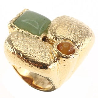 De Buman Yellow Gold Plated Square-Cut Aventurine Ring